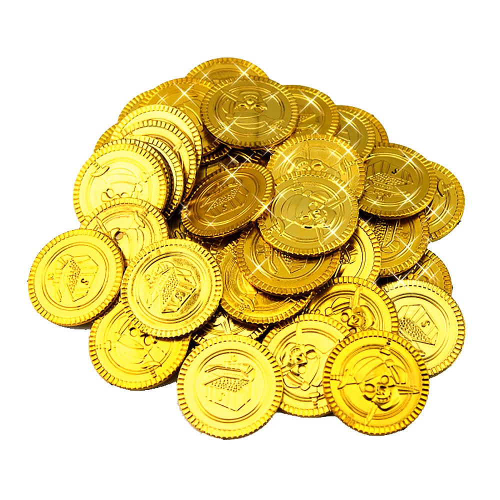 Warmtree toy 100 Pcs Pirate Treasure Coins Toy Coins For Kids Party Supplies Props Decoration (Gold)