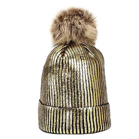 7017634621c Winter Fashion Women s Hat Winter Gold Silver Purple Metallic Women Girls Acrylic  Knitted Gold