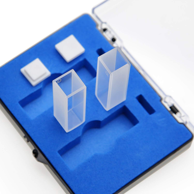 UV Quartz Cuvette for Spectrophotometer 190-2500nm Wavelength Range, Square Shape, Set of 2 with case
