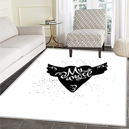 Romantic Dining Room Home Bedroom Carpet Floor Mat Cartoon Heart With Wings My Angel Stylized Lettering