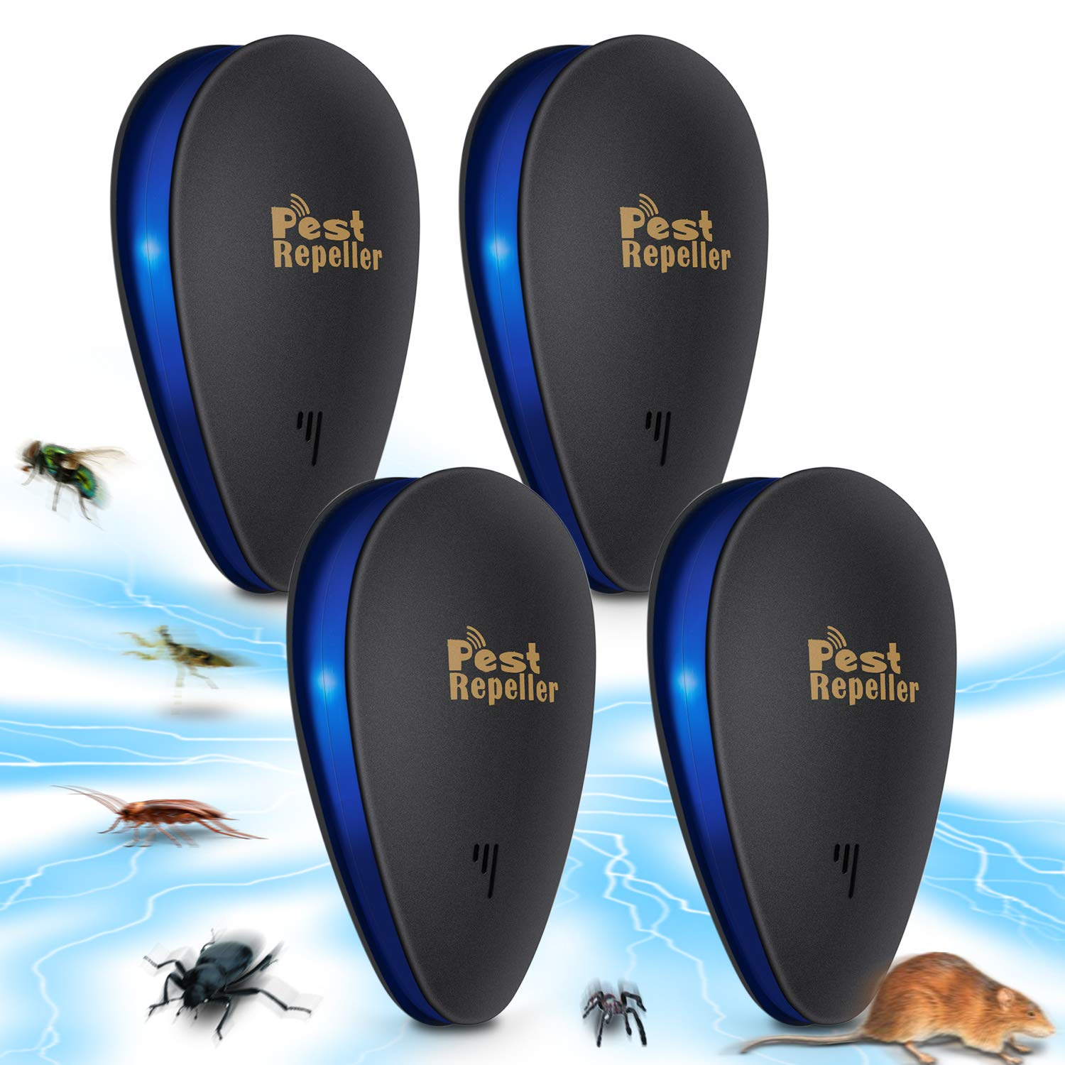 Pest Repeller Ultrasonic Electronic Pest Control Repellent Reject Plug in Home Indoor and Outdoor Warehouse Get Rid of Mosquito Rats Squirrel Flea Roaches Rodent Insect-Black 4 PCS Renfox