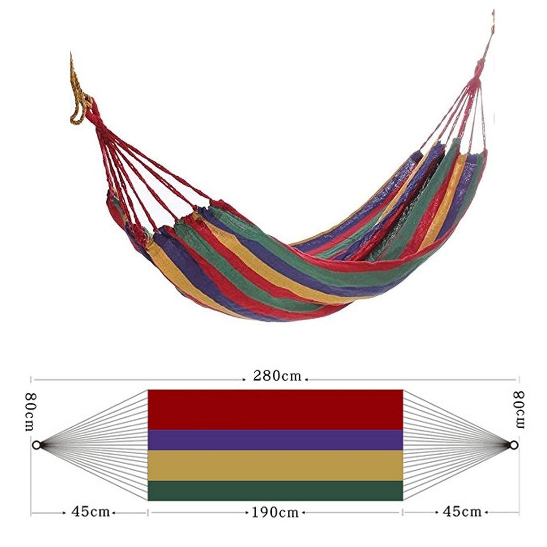 EHAO tela de algod/ón lona Hamaca colgante Swing suspendido al aire libre cama interior 280cm 80cm rojo