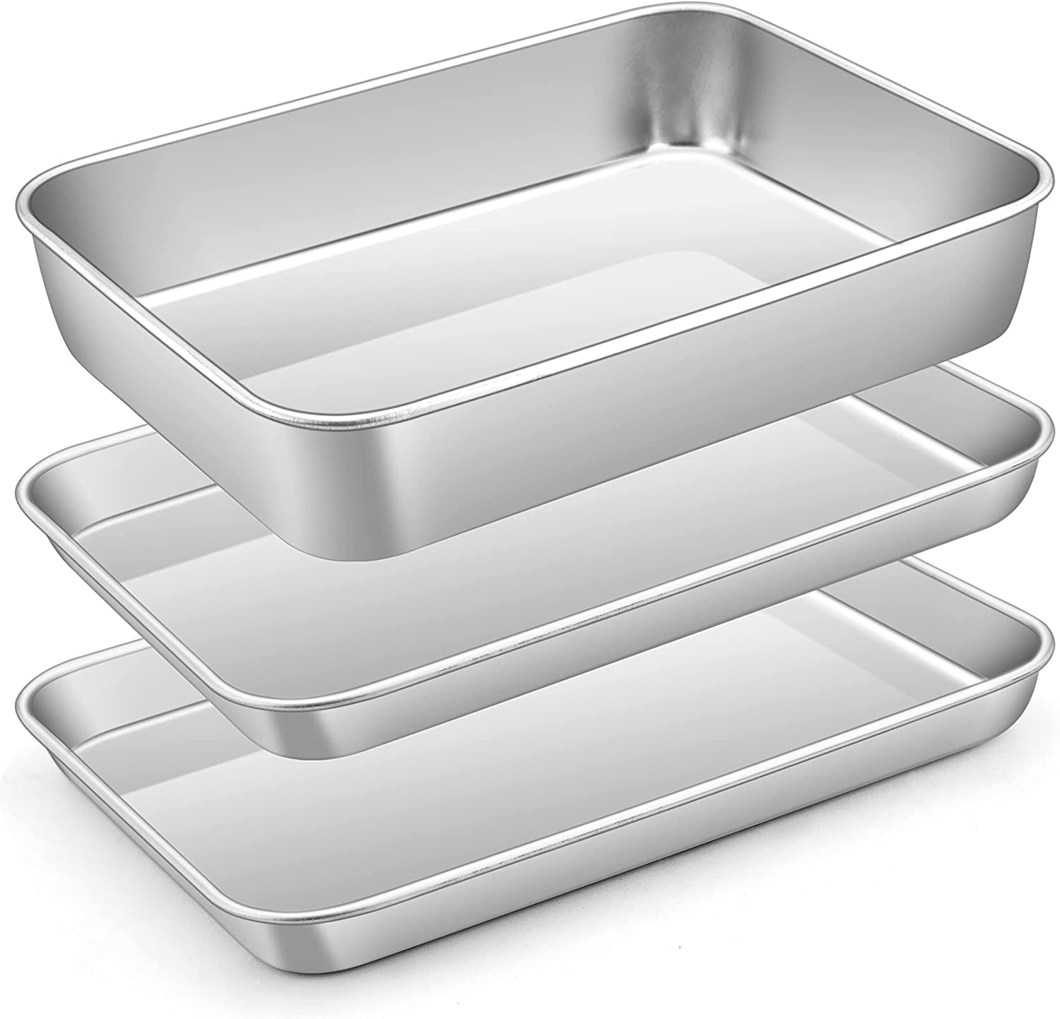 Small Baking Sheet Pan Set, E-far 9.4 x 7.3-Inch Stainless Steel Cookie Sheet Cake Pan for Toaster Oven, 3-Piece Metal Rectangle Rimmed Bakeware, Non-toxic & Dishwasher Safe