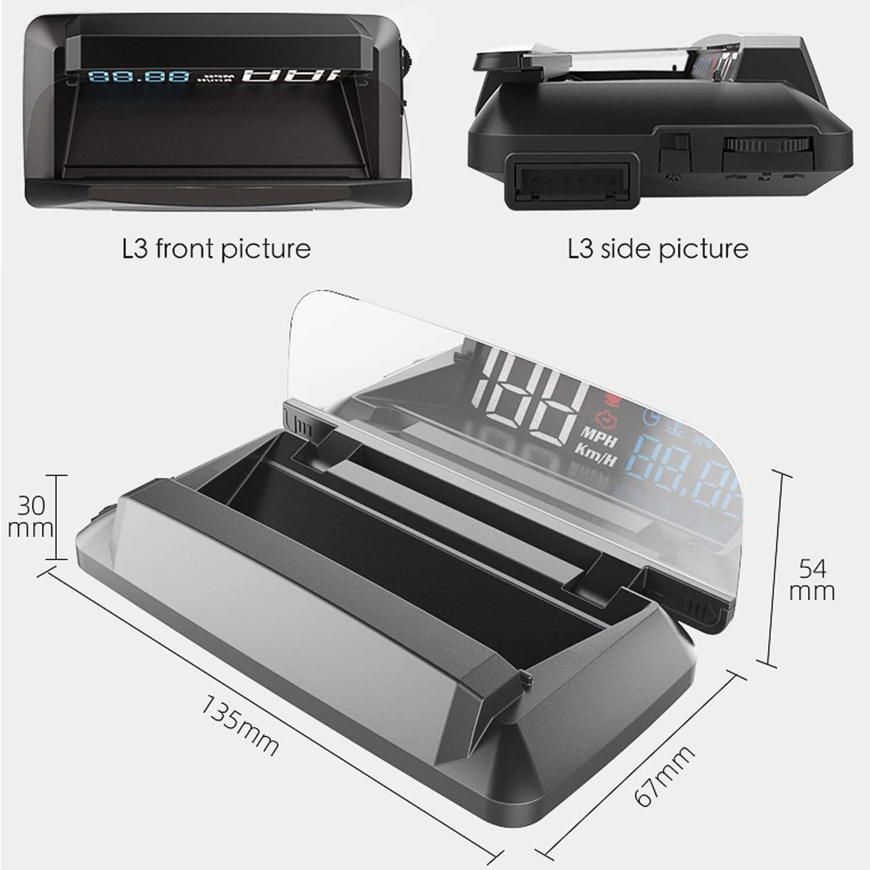 5 1080P LED OBD2 HUD-Display Auto 3D-Reflexion Genug Klares Bild Gegen Sonnenlicht ECU-Datenanzeige /Öl-Wassertemperatur Tachometer Kilometerz/ähler Kraftstoffverbrauch Turbodruck Motorst/örungsmelder