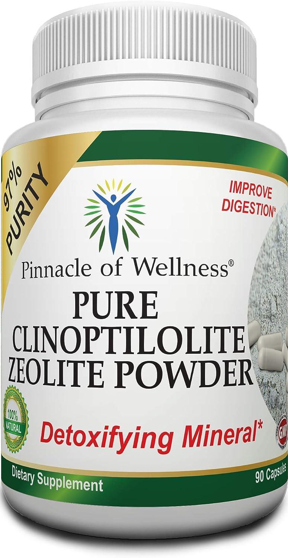 Pinnacle of Wellness Pure Clinoptilolite Zeolite Powder - 97% Purity – Detox Cleanse Dietary Supplement – 90 Capsules
