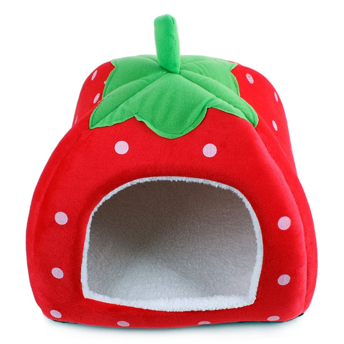 LanPet New Soft Strawberry Pet Dog Cat Rabbit Bed House Doggy Removable Cushion Basket Puppy Home Lovely Pet Cage S21