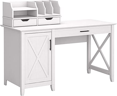 Bush Furniture Key West 54W Computer Desk with Storage and Desktop Organizers, Pure White Oak