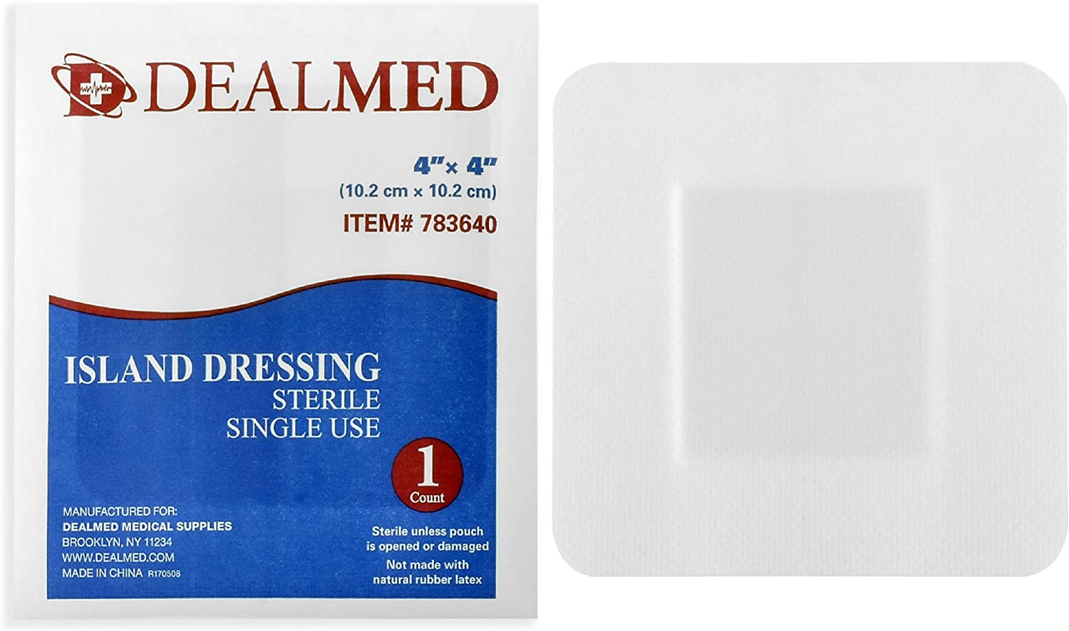 "Dealmed Sterile Bordered Gauze Island Dressings, Non-Stick, Latex-Free, 4"" x 4"", 25 Count"