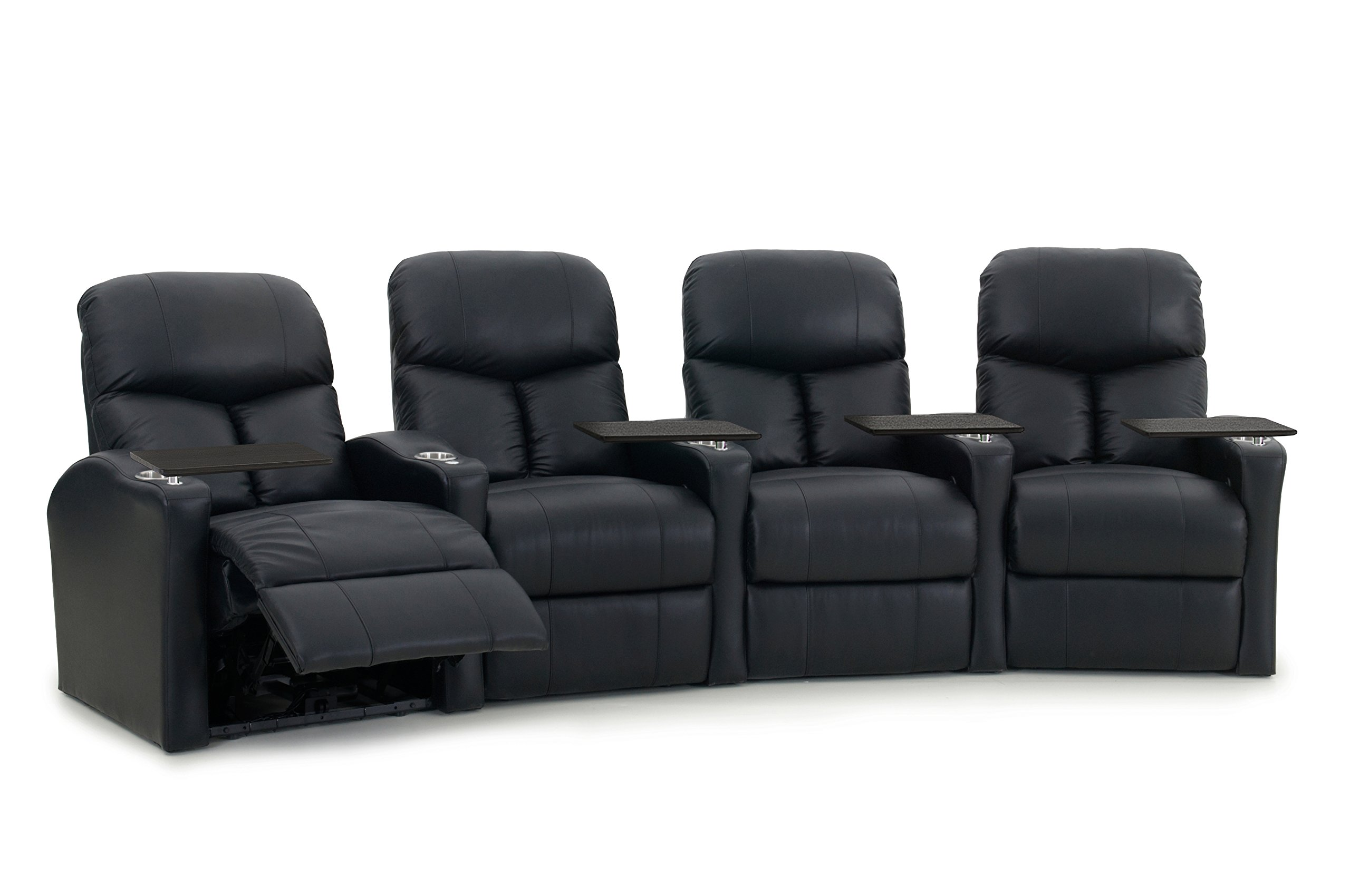 Octane Seating BOLT-R4CP-BND-BL Octane Bolt XS400 Motorized Leather Home Theater Recliner Set (Row of 4)