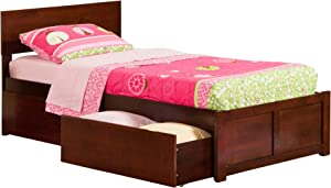 Atlantic Furniture Orlando Platform Bed with 2 Urban Bed Drawers, Twin XL, Walnut