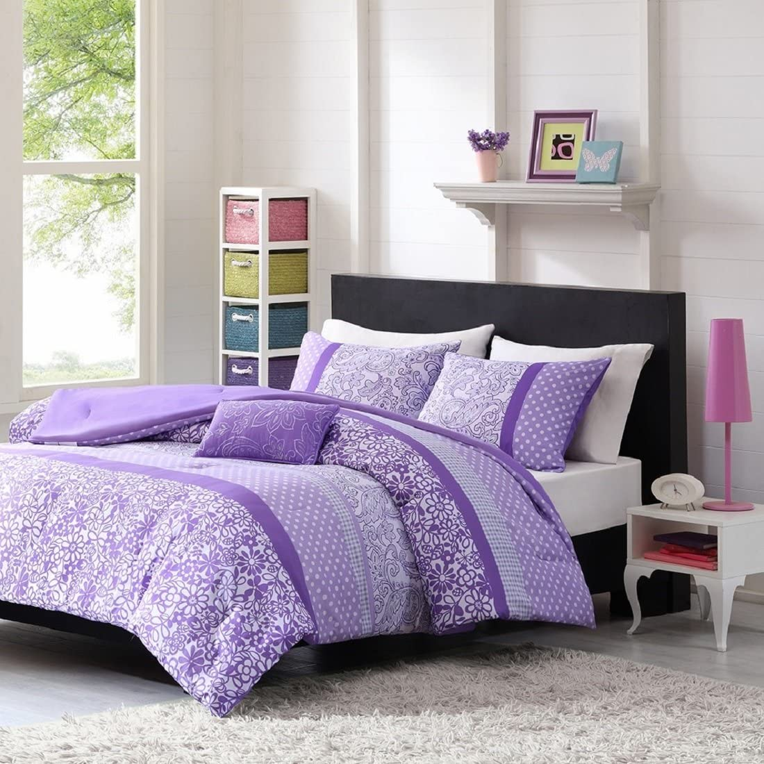 Teen Girl Comforter Sets Purple Lavender Lilac Bedding Flower Paisley Polka Dot Design With Embroidered Pillow Includes Bonus Sleep Mask From Designer Home Full Queen Home Kitchen