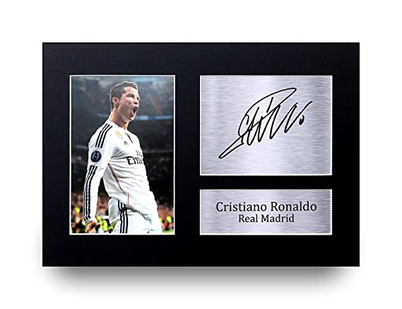 check out 0ca3b c8425 HWC Trading Real Madrid Cristiano Ronaldo Gift Signed A4 Printed Autograph  Gifts Photo Display