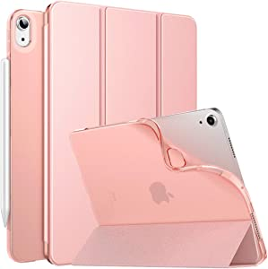 MoKo Case Fit New iPad 10.9 inch, iPad Air 4th Generation Case 2020, Smart Trifold Stand Slim Folio Case with Soft TPU Frosted Translucent Back Cover Fit iPad Air 4 2020, Auto Wake/Sleep - Rose Gold
