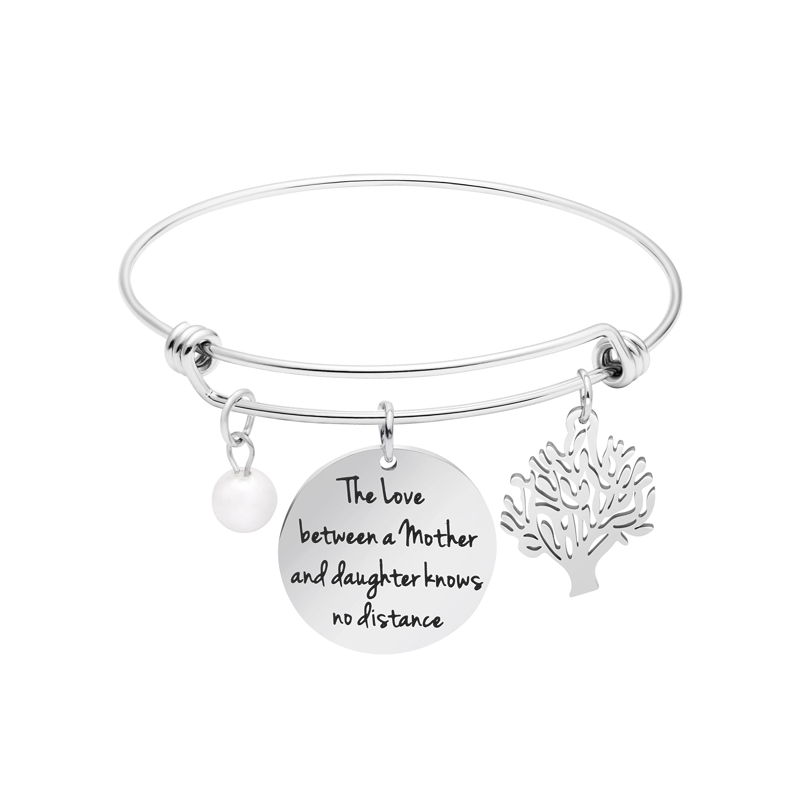 Awegift Tree of Life Charm Expandable Bracelet for Mom Personalized Jewelry for Mama