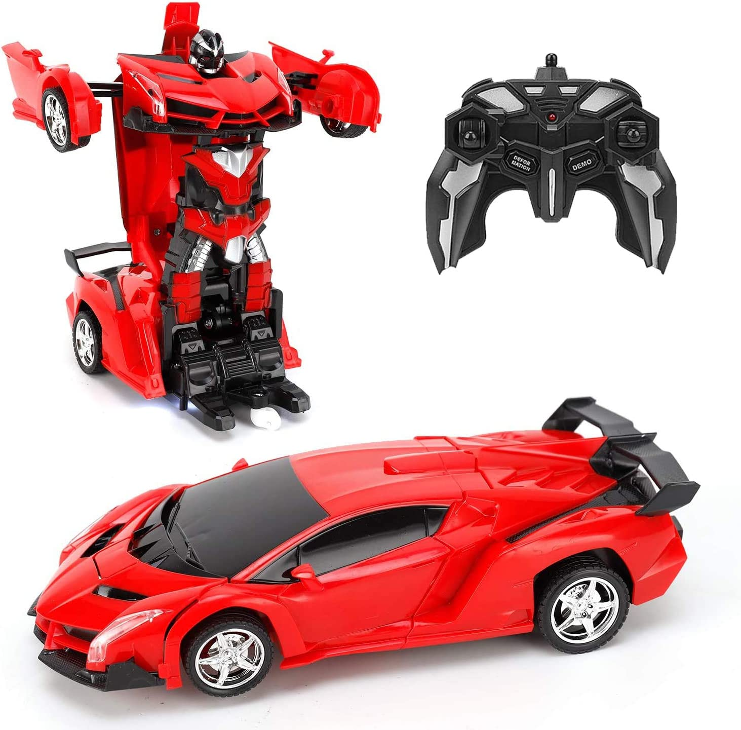 GAINER Transform Car Robot, Robot Deformation Car Model Toy for Children, Transforming Robot Remote Control Car with One Button Transformation & 360 Speed Drifting 1:18 Scale