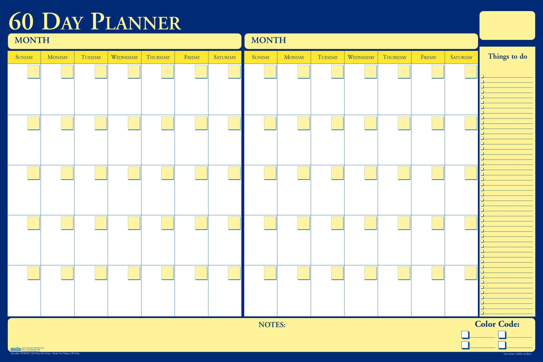 House of Doolittle Plan-A-Board 30/60 Day Non-Dated Laminated Planner Reversible 36 x 24 Inch (HOD631)