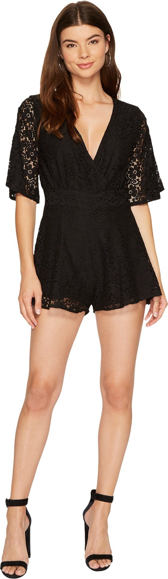 Lucy Love Women's Lace New You Romper Black Jumpsuit