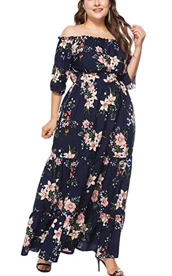 MAGIMODAC Übergröße Kleider Damen Frauen Elegant Off Shoulder Blumen Kleider Cocktailkleid Partykleid Abendkleid Brautkleider Höhe Taille Lang 44 46