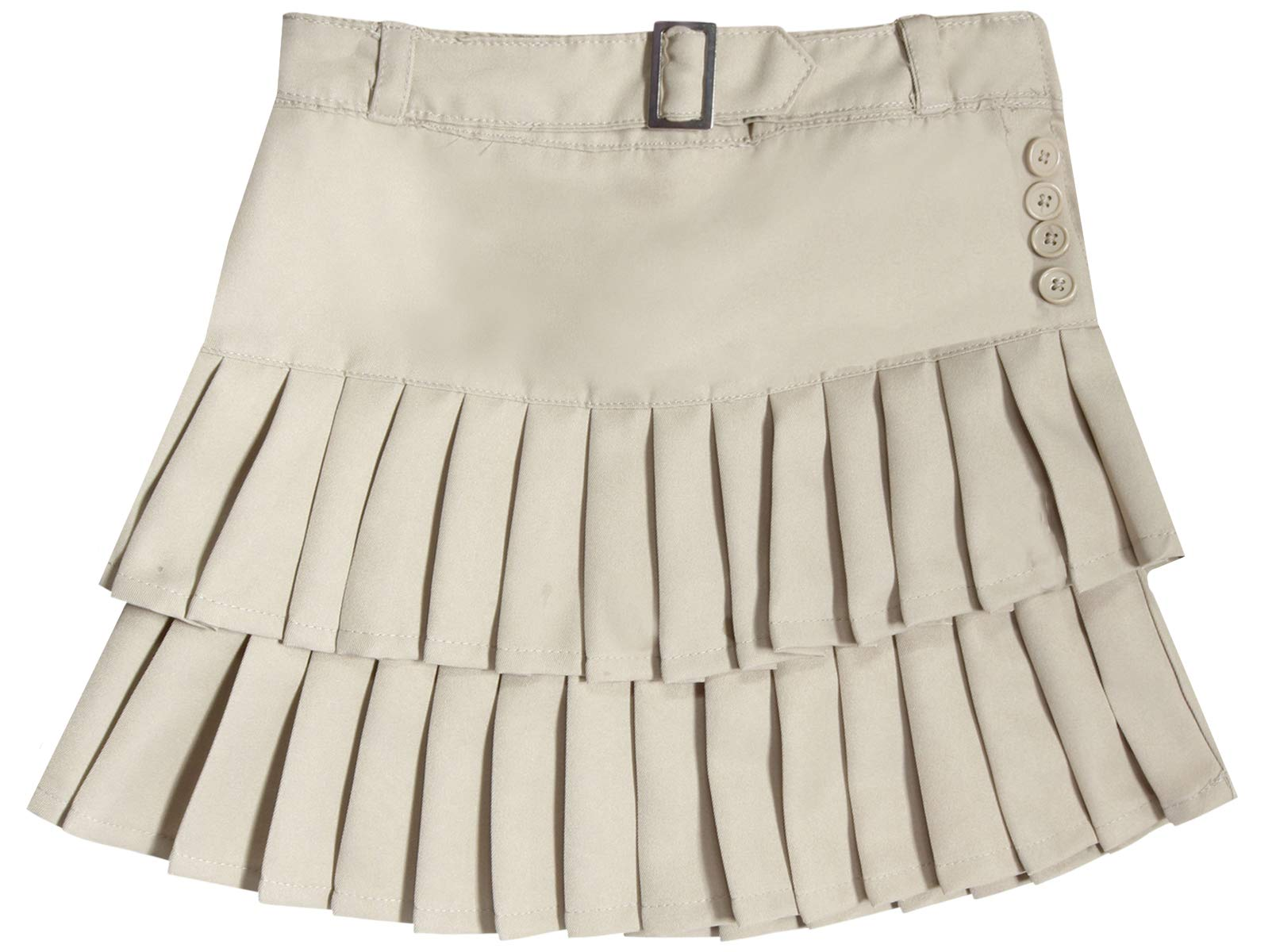 'Beverly Hills Polo Club Girls School Uniform Belted Low Pleat Scooter, Khaki, Size 10'