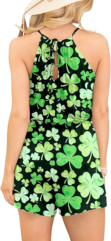 Spadehill Womens Sleeveless Beach Short Pants Boho Floral Rompers