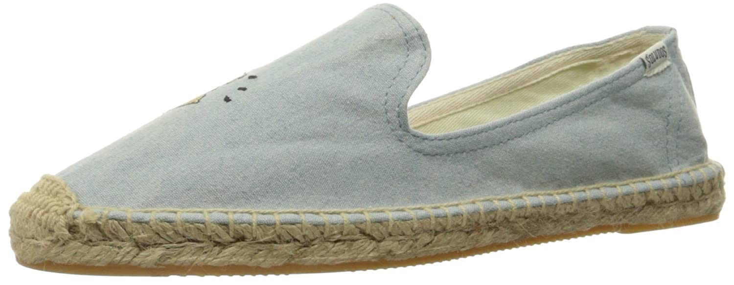 Soludos Women's Embroidered Smoking Slipper Flat B01ISG5VWE 7 N US|Chambray