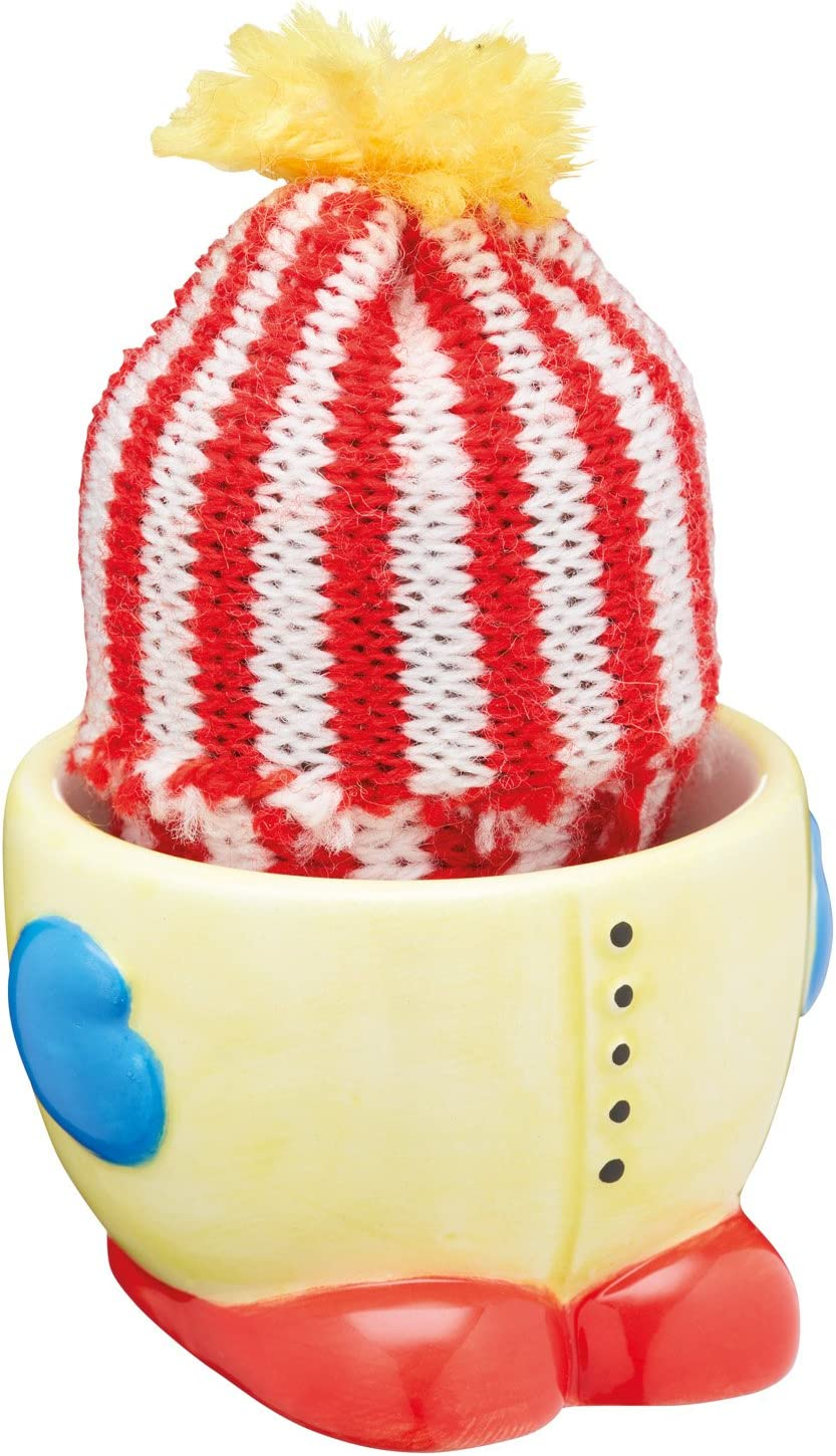 5.5 x 5.5 x 5 cm 2 x 2 x 2 - Green // Brown KitchenCraft Ceramic Cactus Novelty Egg Cup with Knitted Egg Cosy