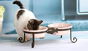 SparkWorks Elevated Cat Feeding Station 2 x 800ml Includes Two