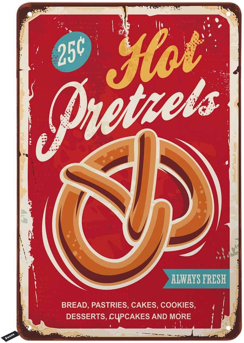 Swono Hot Pretzels Tin Signs,Red Vintage Metal Tin Sign for Men Women,Wall Decor for Bars,Restaurants,Cafes Pubs,12x8 Inch