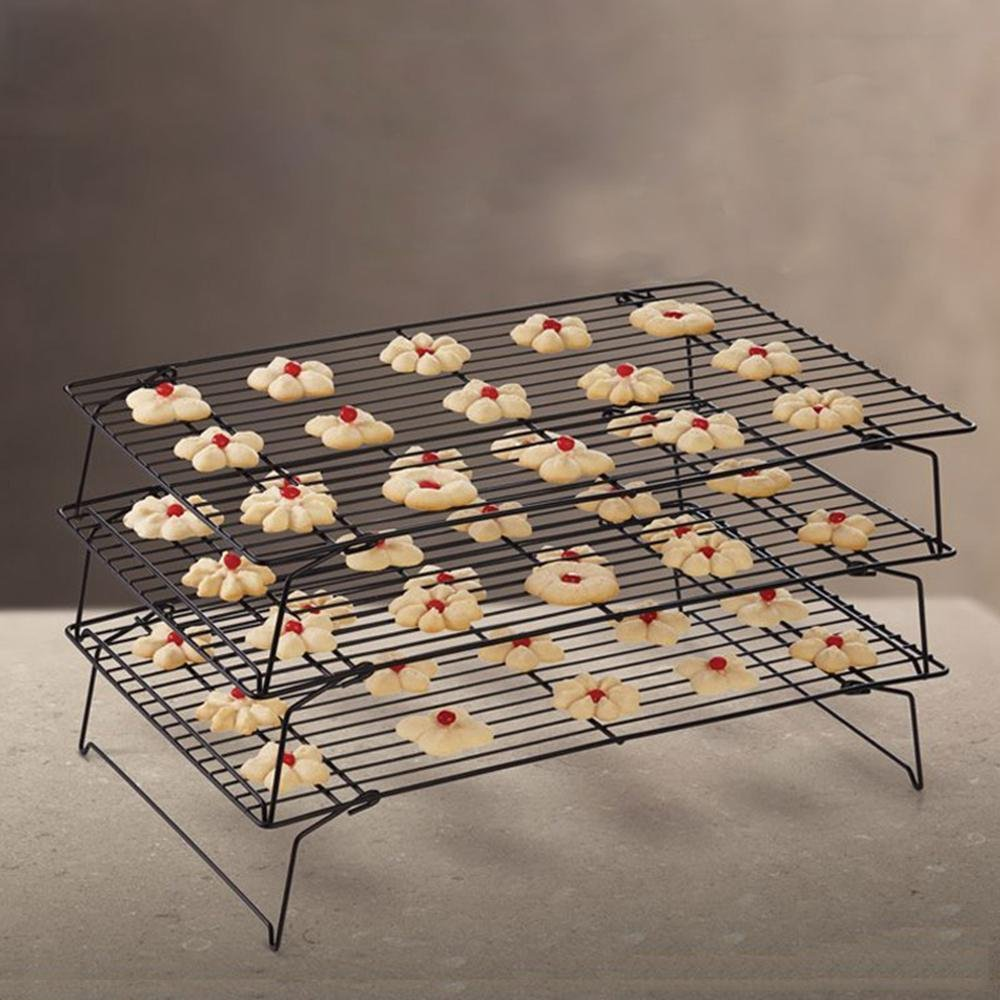 Bakeable Cooling Rack, 3-tier Bakeable Nonstick Cooling Rack Carbon Steel Stackable Wire Cookie Cake Cooling Rack for Bread and Other Baked Food, Stable Legs, Oven Safe, 15.79.8'' by Aolvo (Image #4)