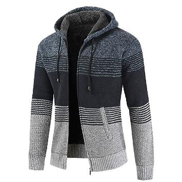 Amazon.com: Gift Ideas! Teresamoon Mens Autumn Winter Packwork Hooded Zipper Jacket Knit Cardigan Long Sleeve Coat: Kitchen & Dining