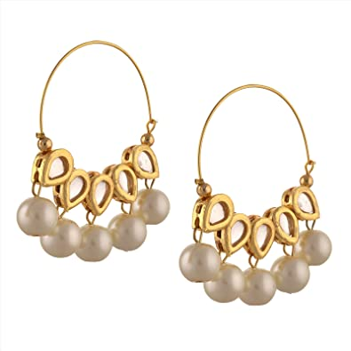 Buy Zephyrr Fashion White Pearls Gold Tone Hoop Earrings With