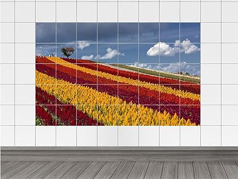 Piastrelle adesivo piastrelle stampa su legno fiori prato caselle