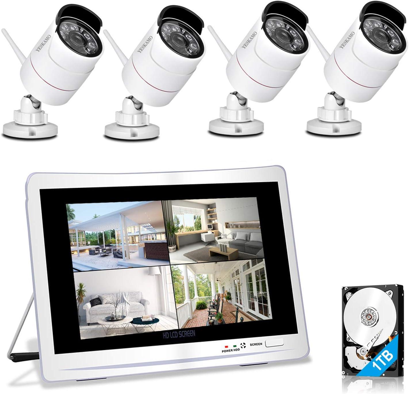 """YESKAMO Überwachungskamera Set Aussen Wlan mit 9 x 9P WiFi Wasserdicht  Kameras 9"""" HD 9,9 Megapixel Monitor Vorinstalliert 9TB Festplatte"""