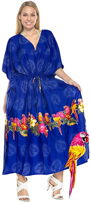 Women's Beachwear Long Casual Dress Caftan MAXI Evening Loose Dress Printed Kimono R_Blue One_Size_Fits_Most 1898 Spring Summer 2017