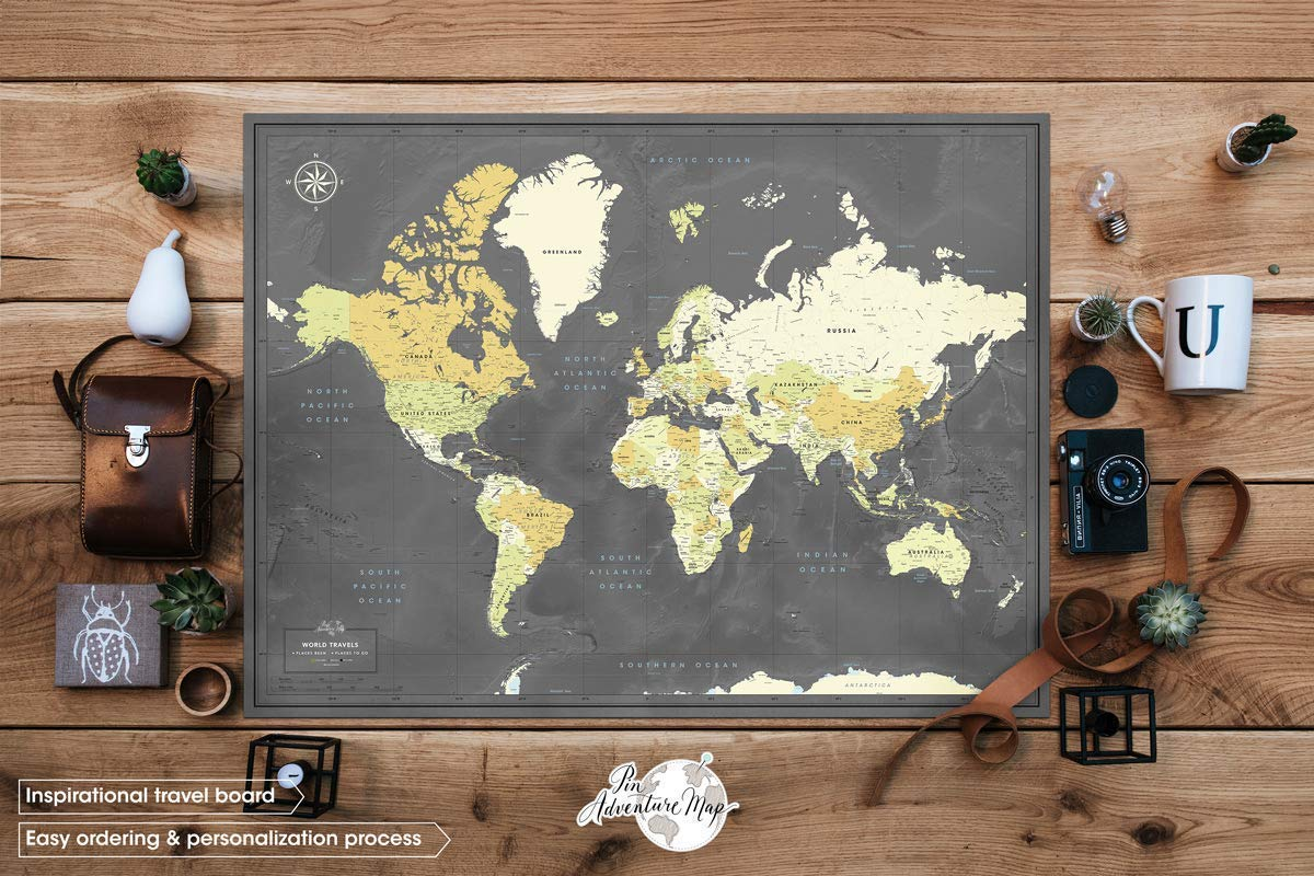 World Map Poster with Pins for Travel Tracking | Personalized Push Pin Travel Map Poster | Custom Push Pin Map for…