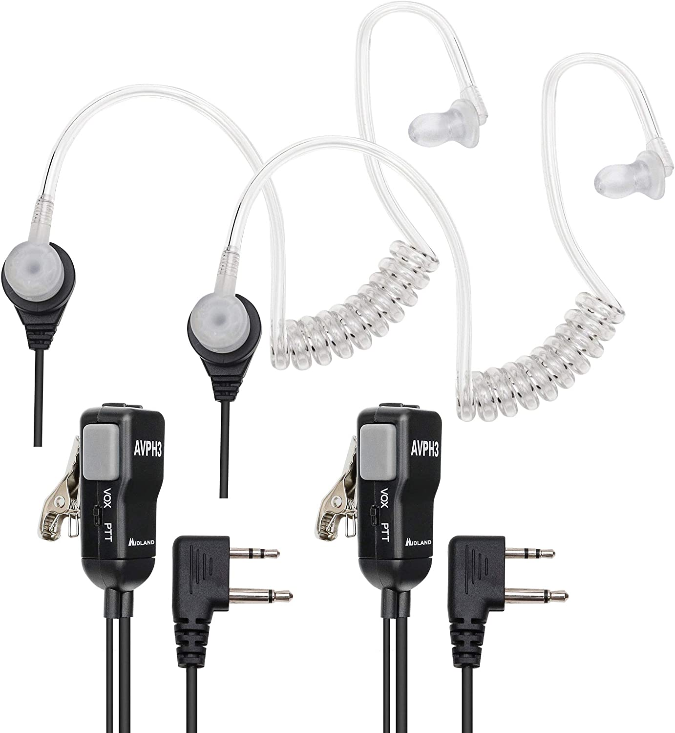Midland AVPH3 AVP-H3 Security Surveillance Headsets for Midland Radio Pair