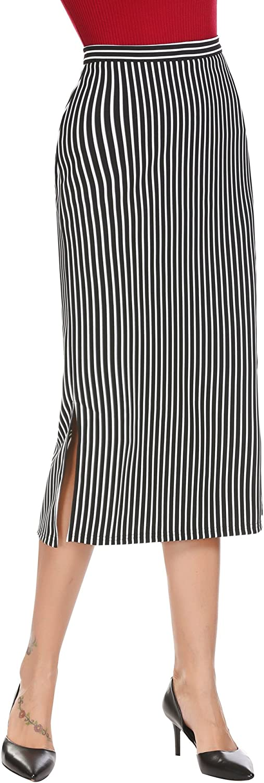 Zeagoo Women's High Waist Split Striped Below Knee Midi Pencil Skirt