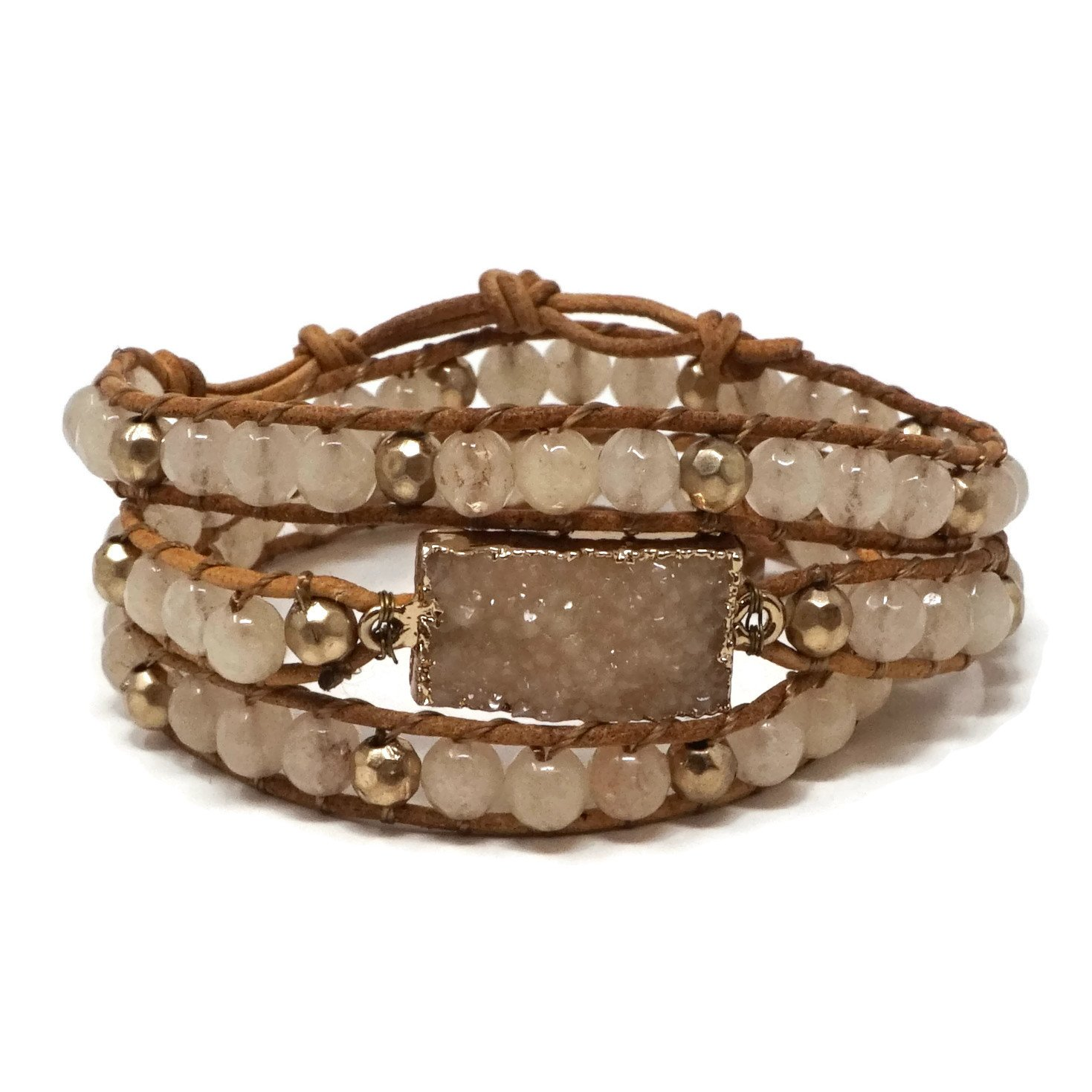 Elosee Genuine Stone with Druzy Leather Wrap Bracelet (Light Brown)