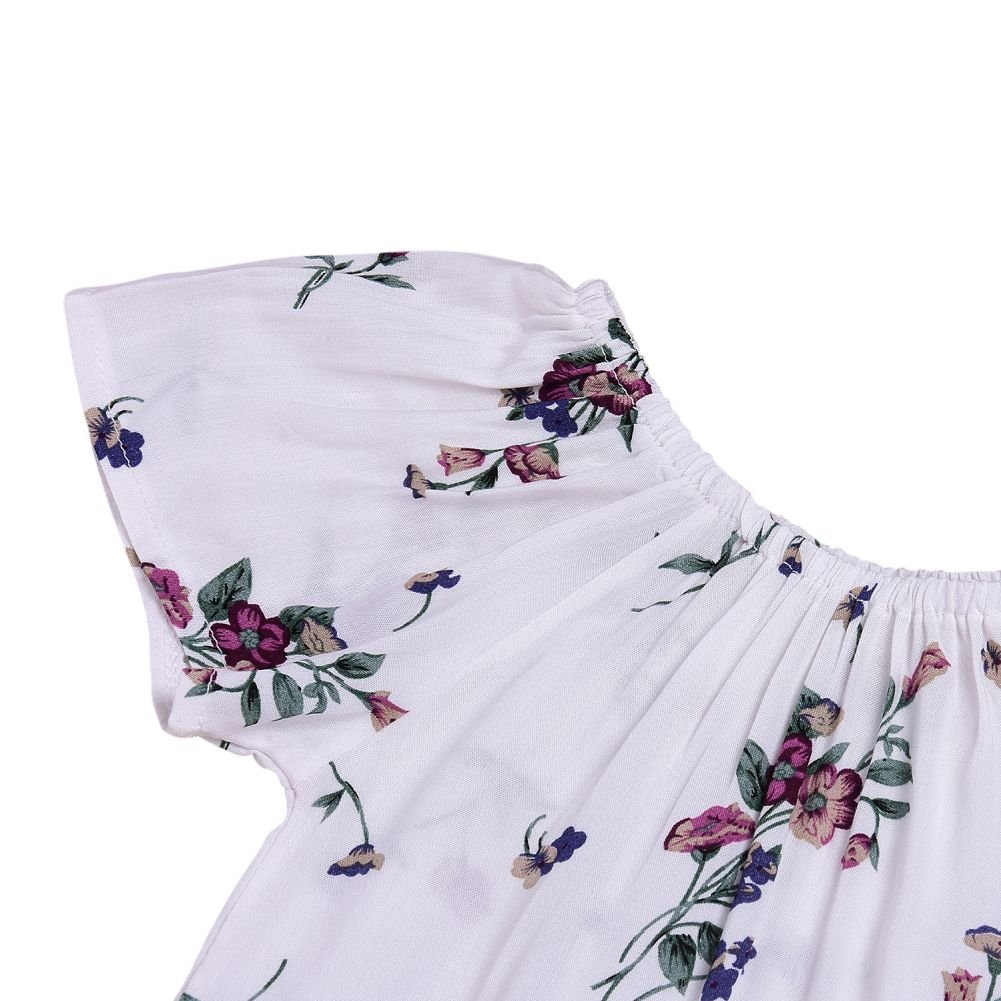 Soly Tech Baby Girls Floral Print T-Shirts Rompers and Suspender Skirt Overall Dresses