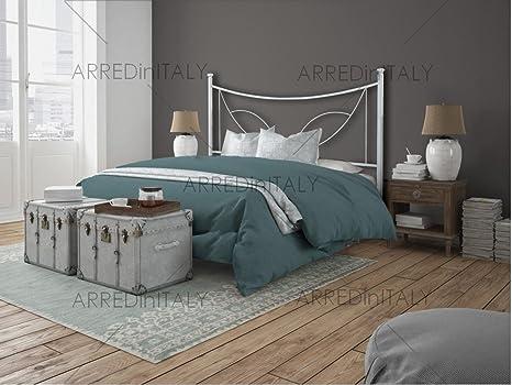 ARR031 Non Inclusa Prodotto Made in Italy Letto Matrimoniale in Ferro Colore Bianco con GIROLETTO PREDISPOSTO per Rete con Piedini 160 X 190 CM