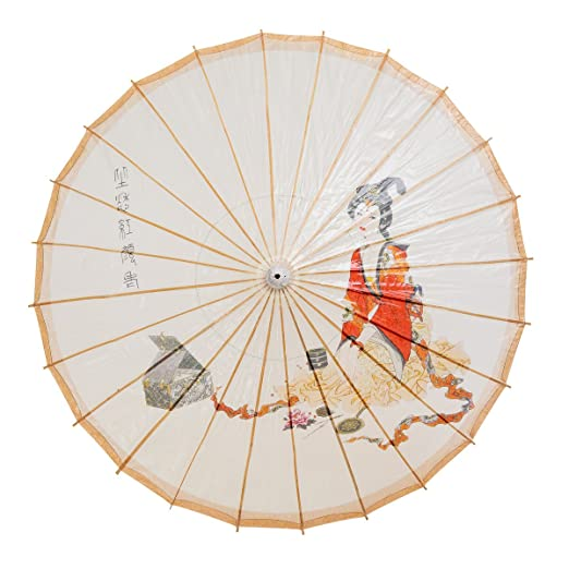 Vintage Style Parasols and Umbrellas THY COLLECTIBLES Rainproof Handmade Chinese Oiled Paper Umbrella Parasol 33 Chinese Beauty $14.99 AT vintagedancer.com