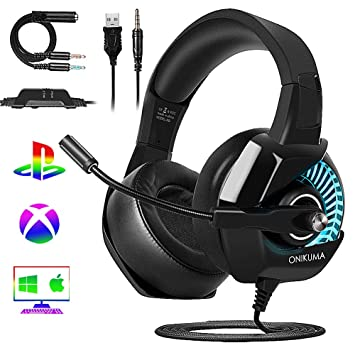 Cascos Gaming PS4/PC/Xbox One, ONIKUMA Auriculares Gaming Headset con Micrófono 3.5