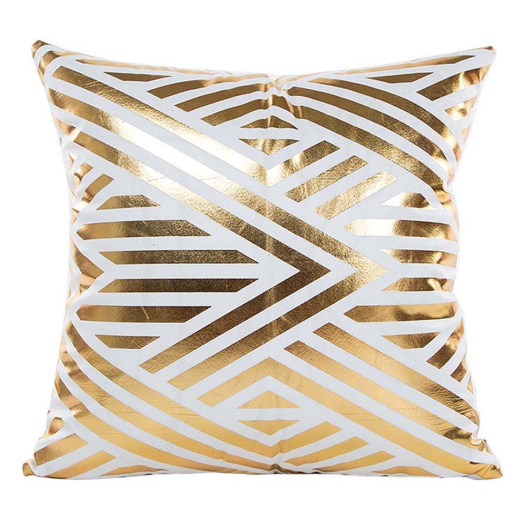 Sumen Gold Foil Print Jacquard Pillow Case Home Decor Car Sofa Waist Throw Cushion Cover 18 X18  (A)