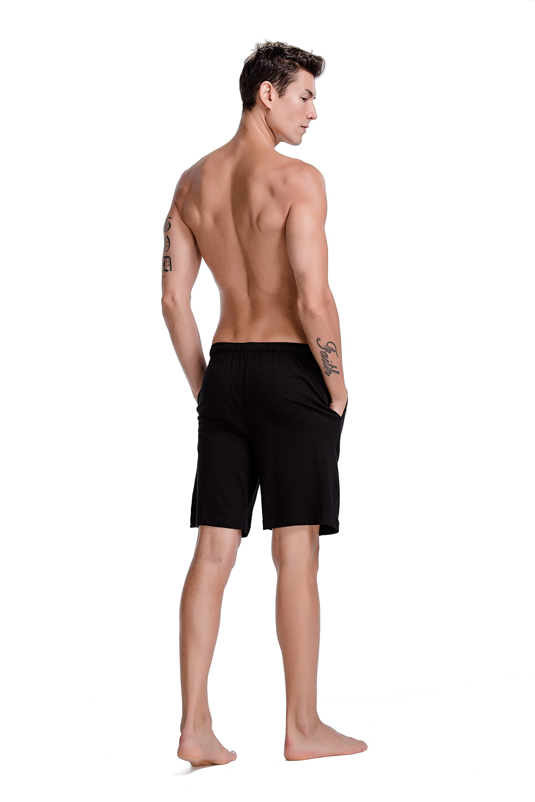 CYZ Men's Comfort Cotton Jersey Shorts With Pockets-Black-L by CYZ Collection