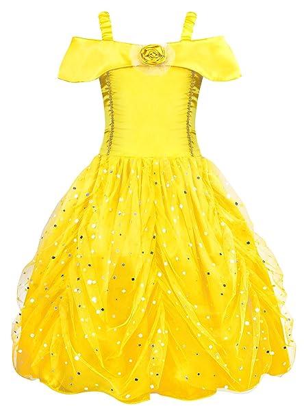 9ac2ceff4469 AmzBarley Belle Dress Costume Girls Princess Party Layered Birthday Kids  Clothes (Yellow 03, 4T