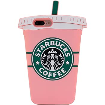Pink Starbucks Coffee Cup Case for iPhone 7+ 7Plus 8+ 8Plus Large Size Soft Silicone Rubber Shockproof 3D Cartoon Cool Fun Bold Cute High Fashion Hot Gift ...