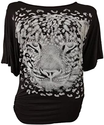 e94fef145 NEW LADIES PLUS SIZE SEQUIN TIGER PRINT BAGGY BATWING TOPS TUNIC SLOUCH  DRESS 12-30