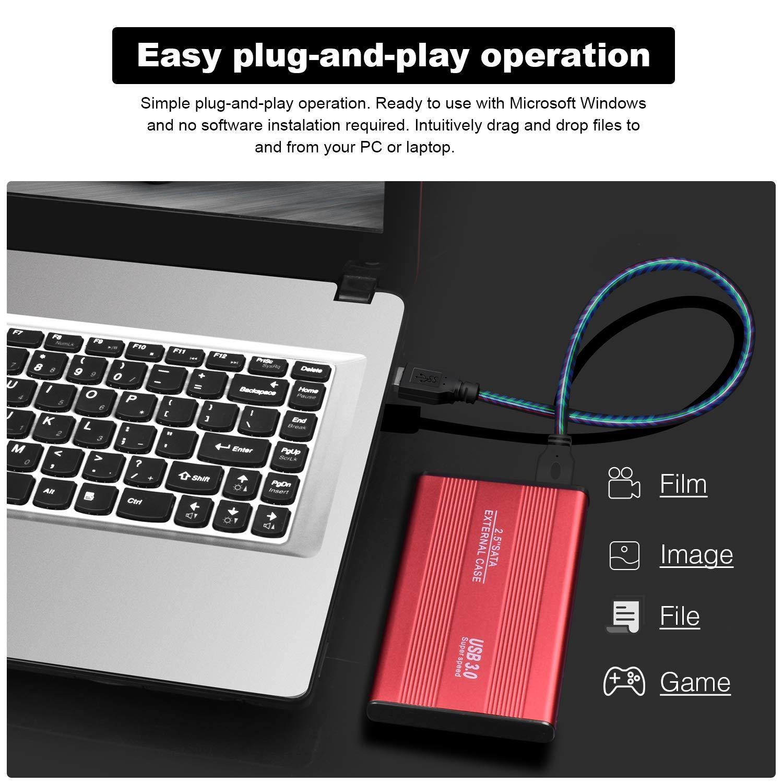 Mac,Xbox PS4 MacBook 1TB,Rojo Disco Duro 1 TB Externo Chromebook Disco Duro Externo Almacenamiento para PC
