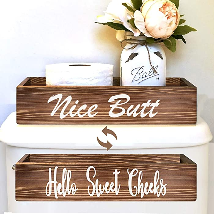 Agantree art Nice Butt & Hello Sweet Cheeks Bathroom Decor Storage Box, Toilet Paper Holder Stand, Farmhouse Rustic Wood Organizer