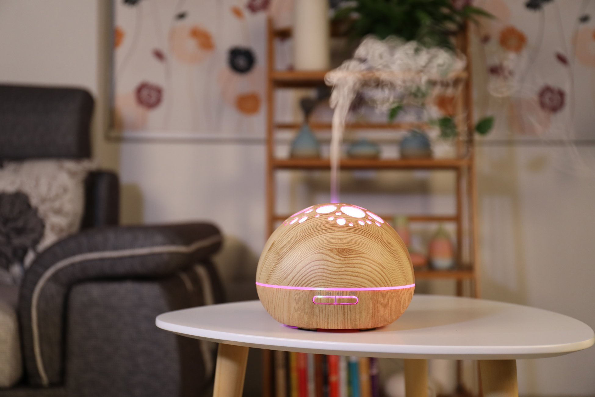 Aroma Essential Oil Diffuser Ultrasonic Cool Mist Humidifier with Adjustable Mist Mode 7 Color LED Lights and Waterless Auto Power-off for Office Home Study Yoga Spa 300ml (Light Wood) by RSL (Image #4)